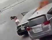 المواطنة صاحبة السيارة تكشف هوية الجاني الذي ظهر في فيديو يحرقها وتعلق النيران به