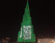 برج خليفة يتزين بالأخضر احتفاء بولي العهد