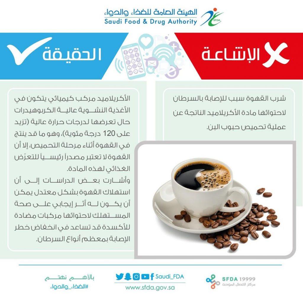 الغذاء والدواء : لا صحة لما يتم تداوله بأن شرب القهوة سبب للإصابة بالسرطان